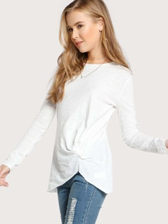 Side Knot Long Sleeve Top WHITE