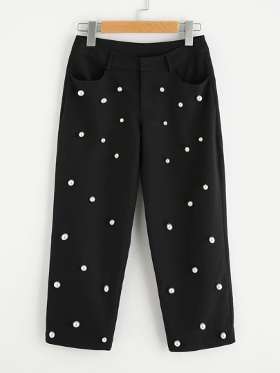 Pearl Beaded Cropped Pants