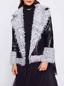 Sherpa Lined And Cuff Biker Jacket