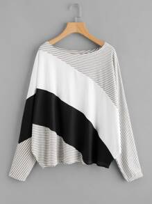 Cut And Sew Stripe Panel Cocoon Tee