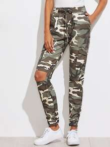Drawstring Waist Knee Cut Camouflage Pants