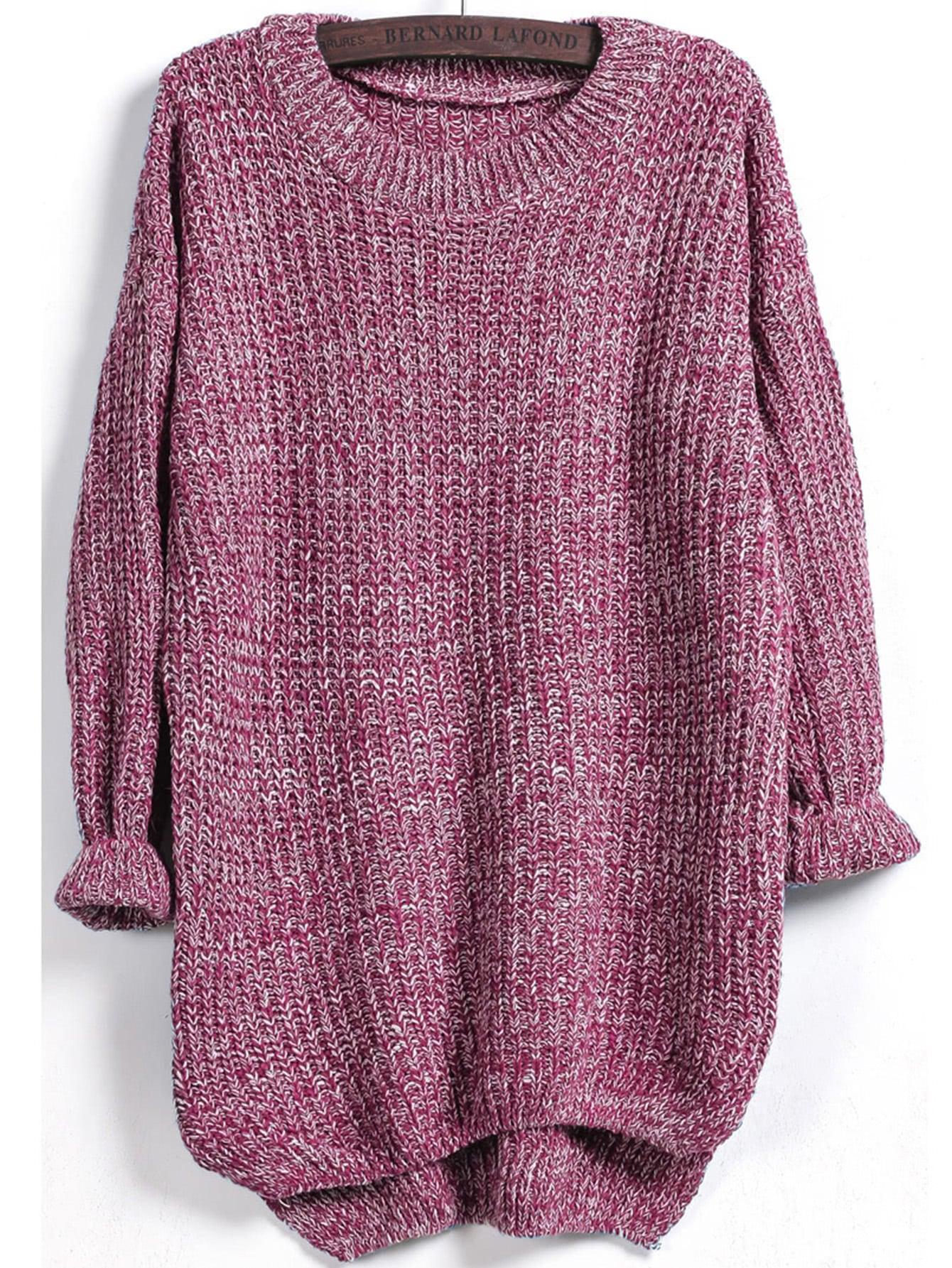 Dip Hem Marled Knit Jumper cable knit raw cut stepped hem jumper