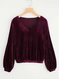 V Neck Cord Pullover