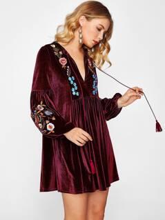 Tasseled Tie Bishop Sleeve Embroidery Velvet Dress