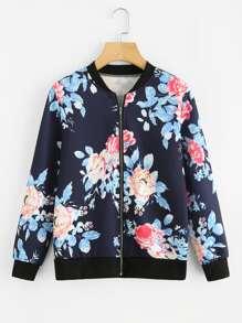 Flower Print Bomber Jacket