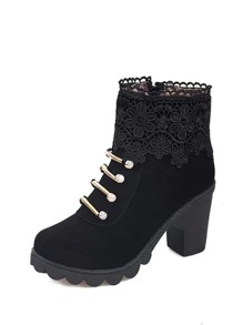 Ruffle Trim Block Heeled Ankle Boots