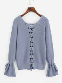 Grommet Lace Up Back Ruff Tied Cuff Sweater
