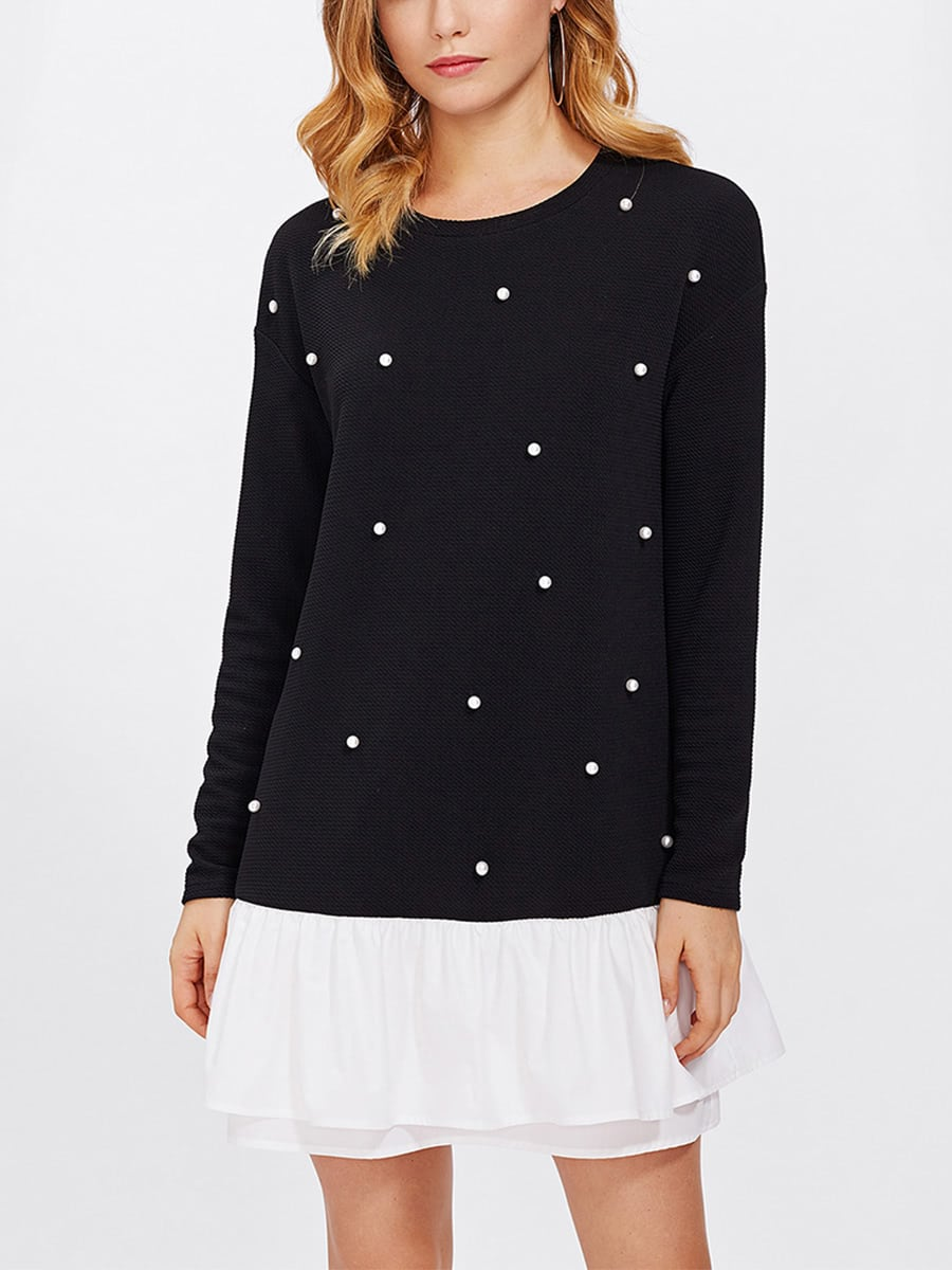 Contrast Layered Ruffle Hem Pearl Embellished Dress frill layered pearl detail sweatshirt dress