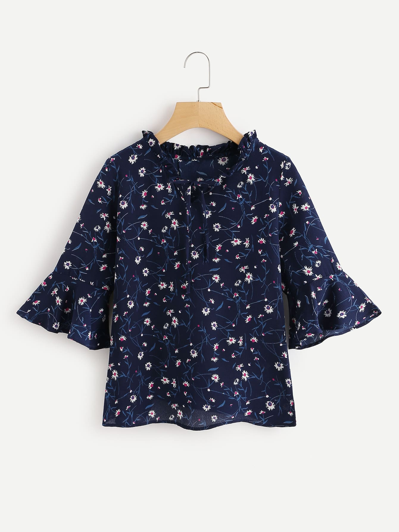 Calico Print Flute Sleeve Frill Blouse ladder lace panel calico print blouse