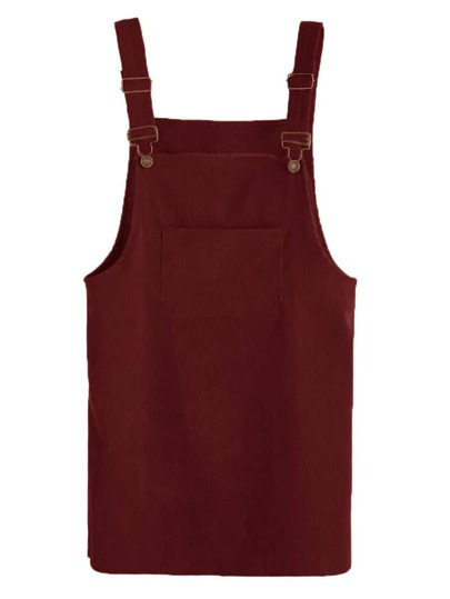 Corduroy Pinafore Dress With Pocket