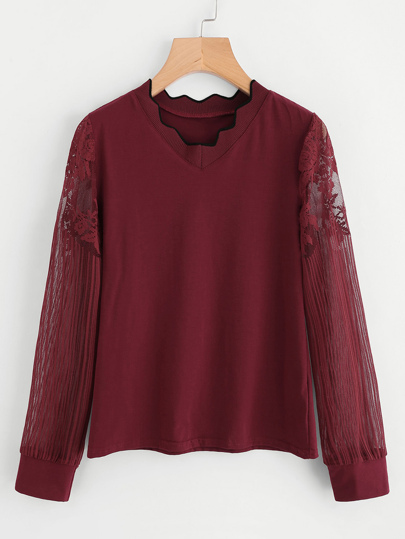 Scalloped Neck Lace Sleeve T-shirt