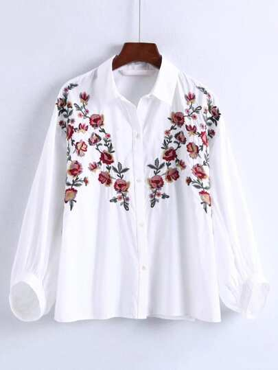 Flower Embroidery Lantern Sleeve Blouse