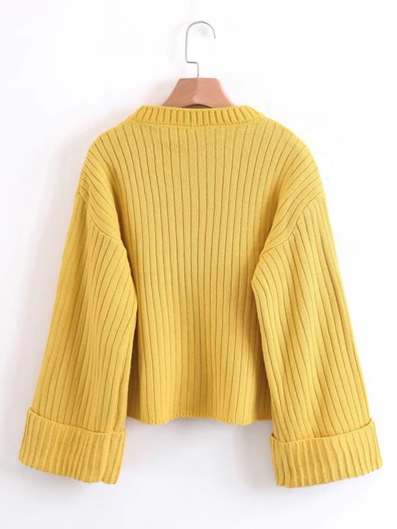Foldover Cuff Ribbed Knit Sweater -SheIn(Sheinside)