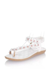 Flowers Applique Toe Post Flat Sandals