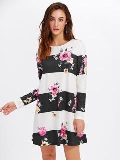 Flower And Wide Stripe Print Tee Dress