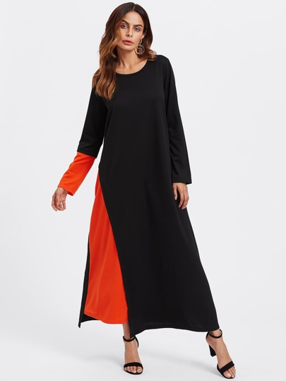 Contrast Panel Hidden Pocket Side Hijab Long Dress