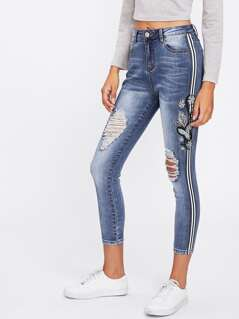 Stripe And Embroidery Side Ripped Jeans
