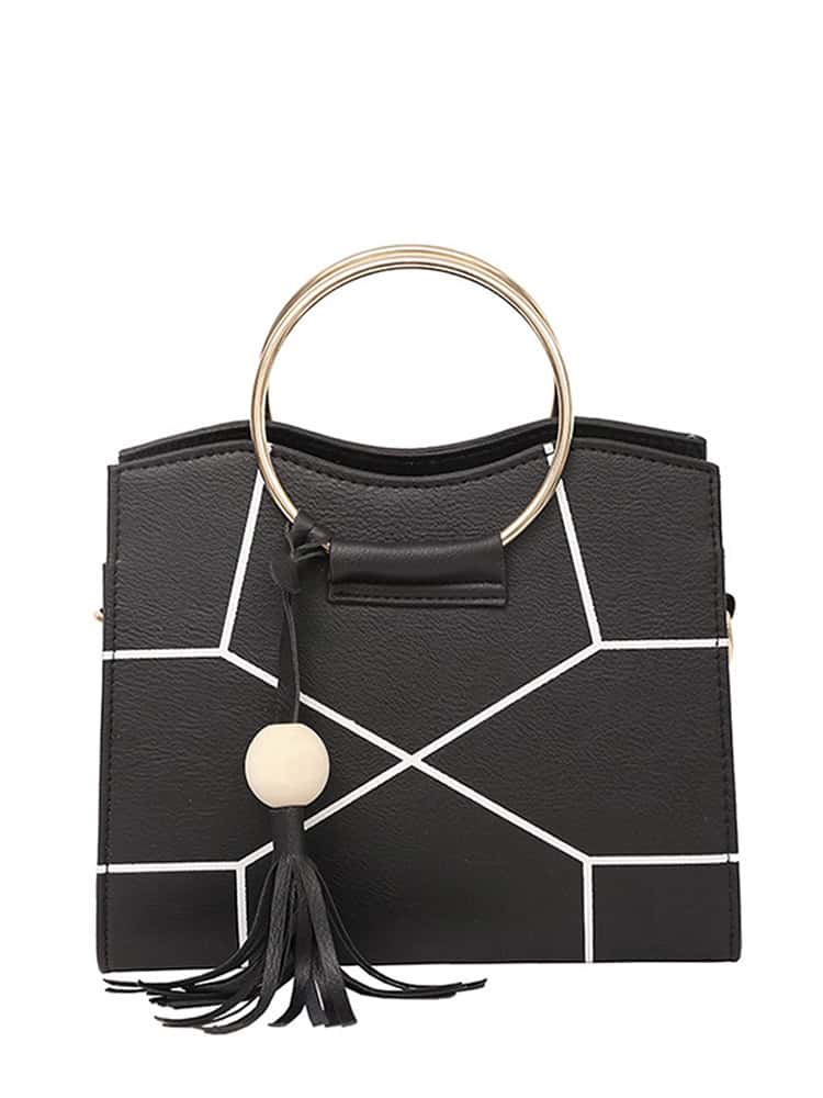 Ring Handle Geometric Design Crossbody Bag With Tassel pu crossbody bag with ring handle