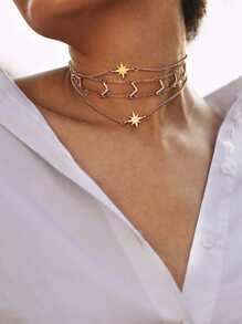 Rhinestone V Shaped Design Layered Chain Choker