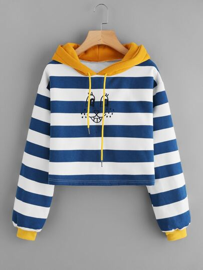 Smile Face Embroidered Striped Hoodie