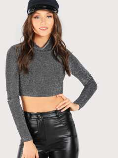 Glitter Turtleneck Long Sleeve Top BLACK