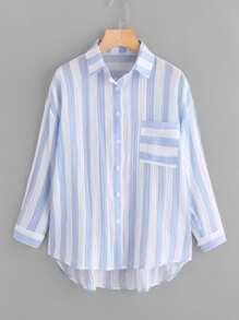 Drop Shoulder Single Pocket Striped Crinkle Shirt