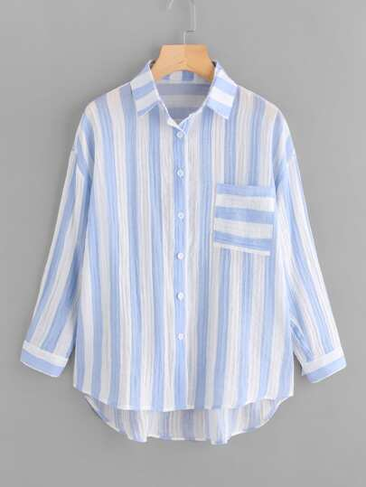 Drop Shoulder Single Pocket Striped Crinkle Shirt
