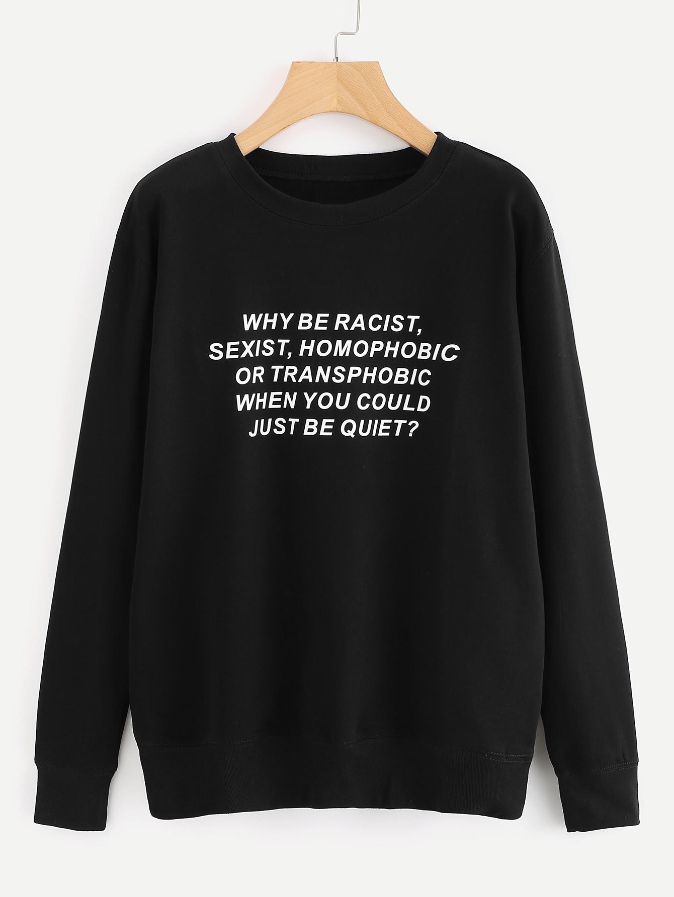 Slogan Print Sweatshirt slogan print drop shoulder sweatshirt