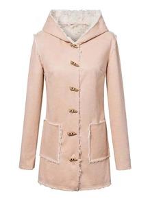 Faux Fur Lined Suede Duffle Coat