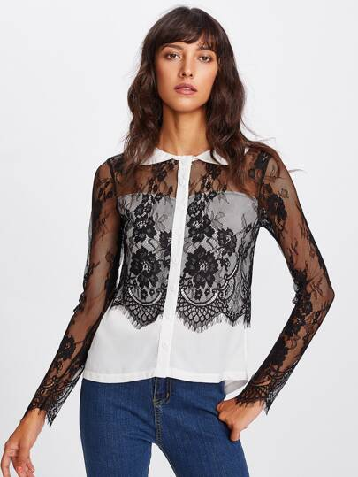 Flower Lace Panel Blouse