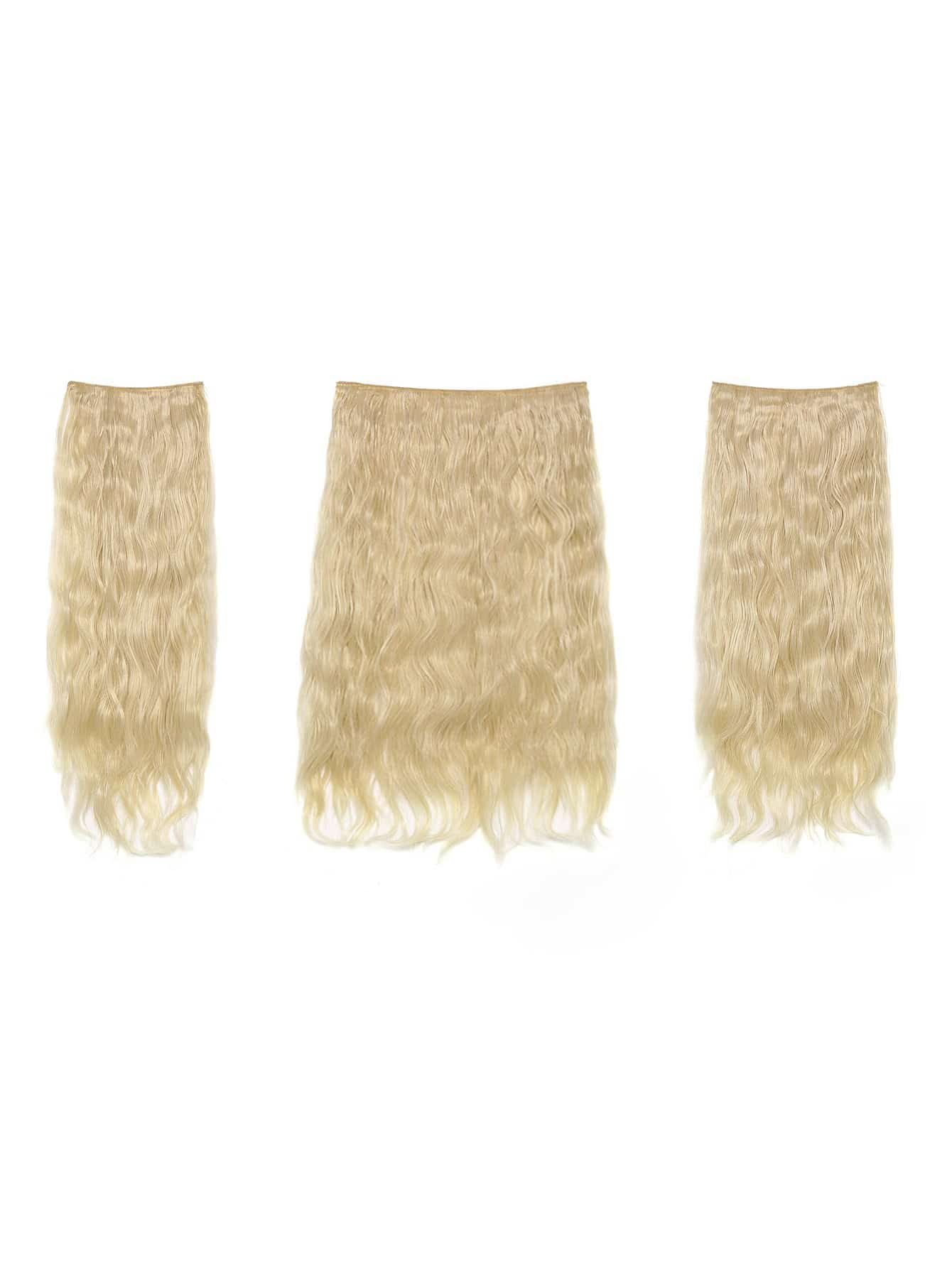 цена на Light Blonde Clip In Curly Hair Extension 3pcs