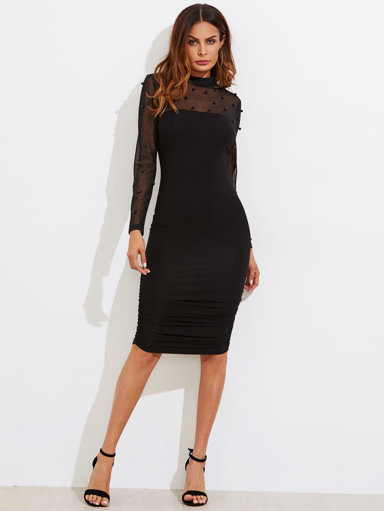 Pearl Beaded Mesh Yoke Ruched Form Fitting Dress calvin klein women s textured beaded ruched jersey dress 4 black