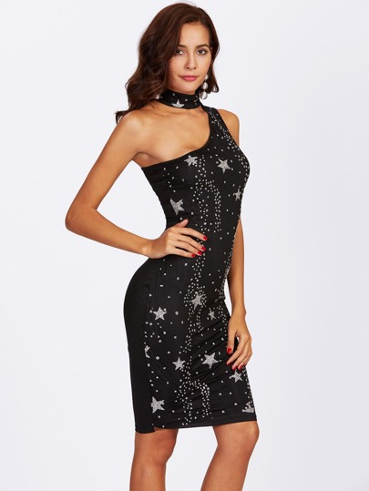 One Shoulder Choker Neck Glitter Star Dress