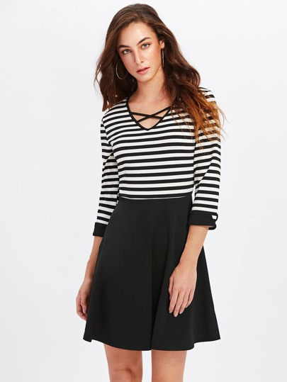 Crisscross Neck Combo Tee Dress