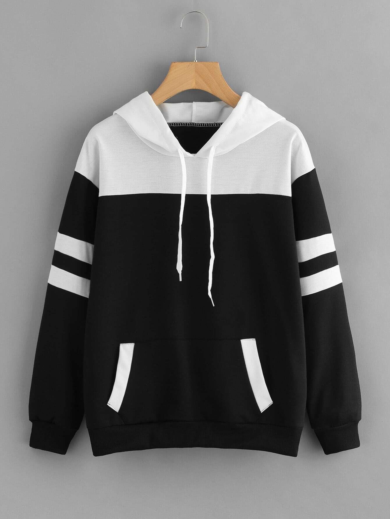Contrast Panel Varsity Striped Hoodie sweatsh171019177