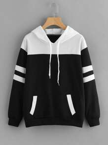 Contrast Panel Varsity Striped Hoodie
