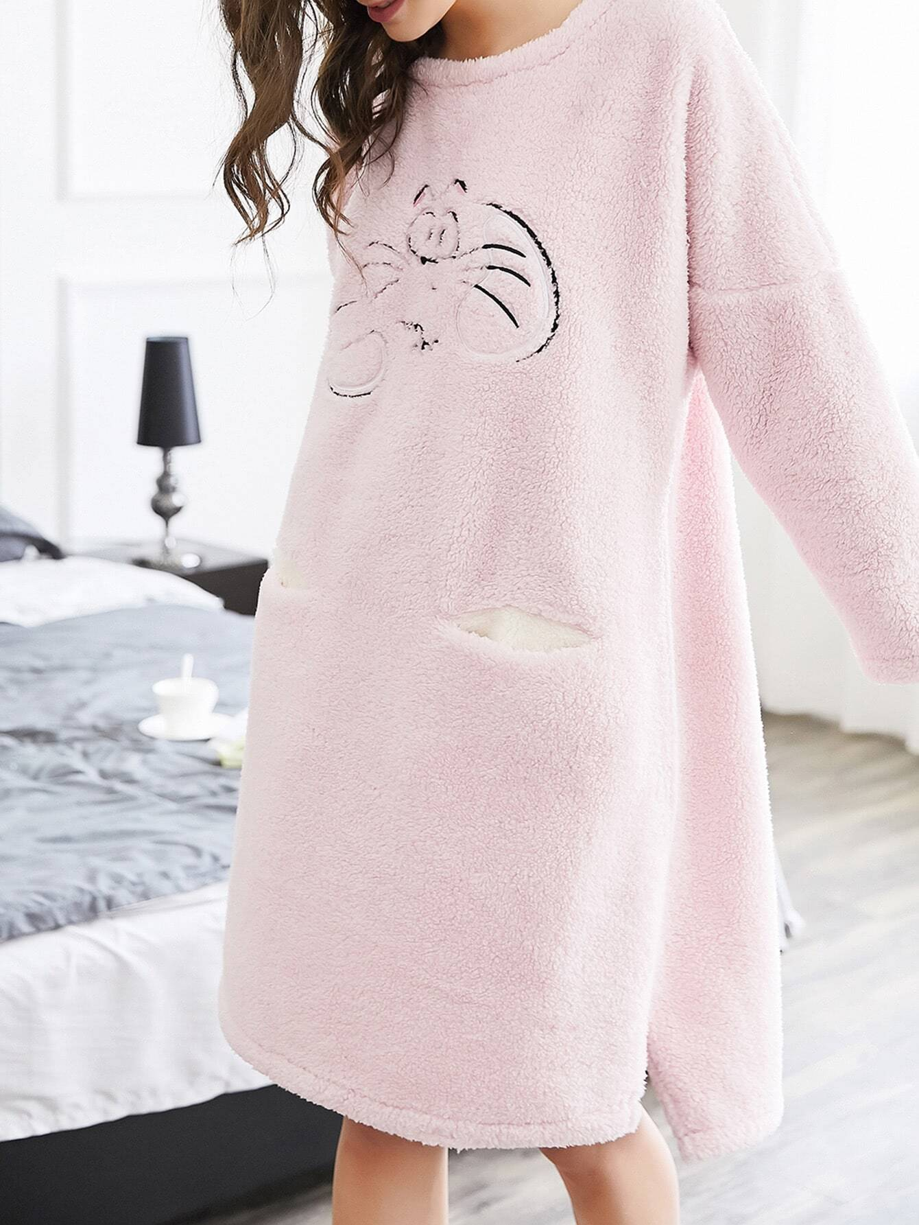 Cat Embroidered Slit Side Plush Nightdress