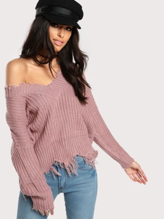 Distressed Rib Knit Long Sleeve Sweater MAUVE