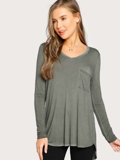 Back Slit Vintage Wash Top GREEN
