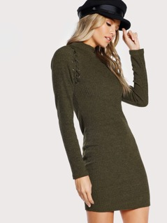 Mock Neck Lace Up Rib Knit Dress