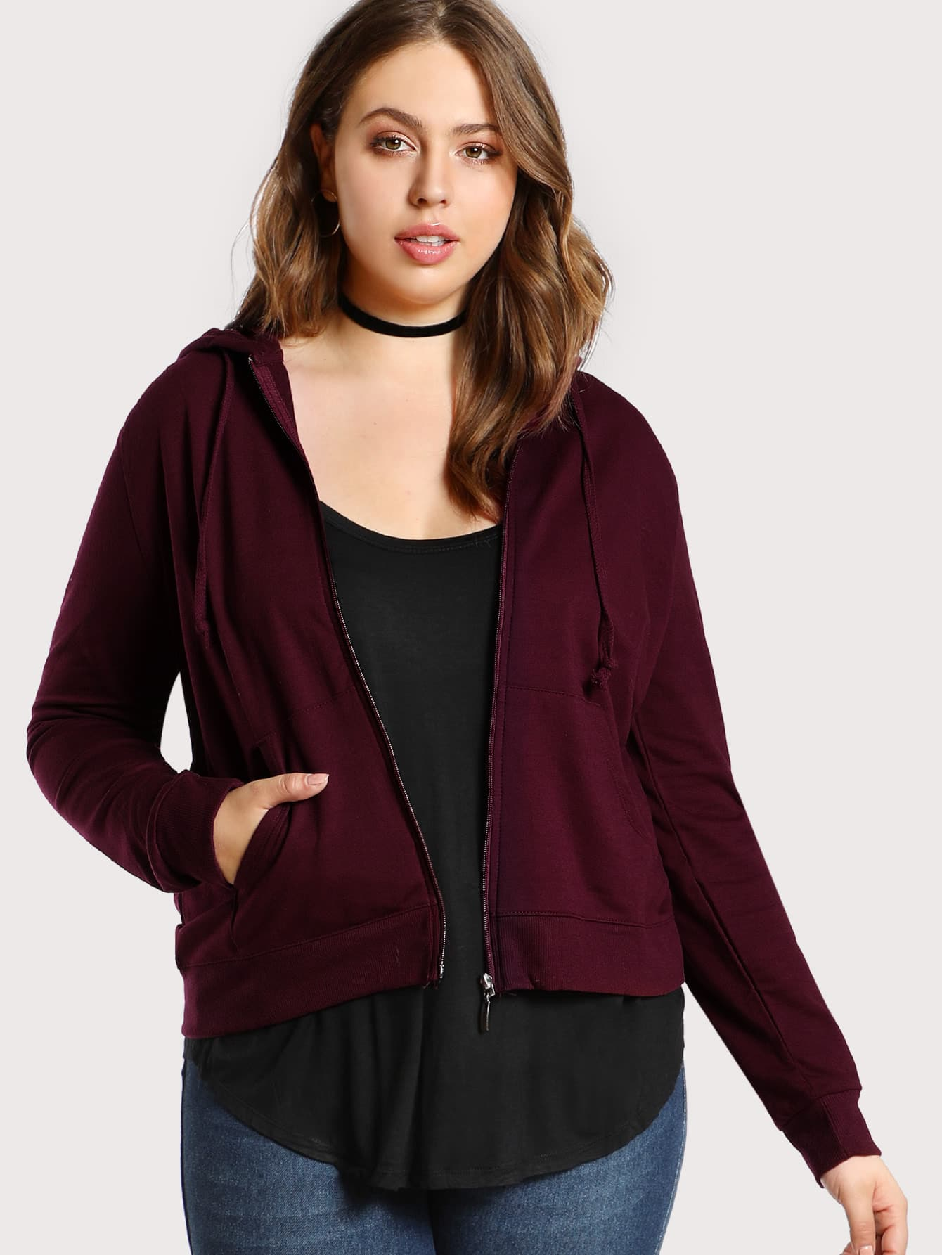 Zip Up Solid Hoodie Jacket