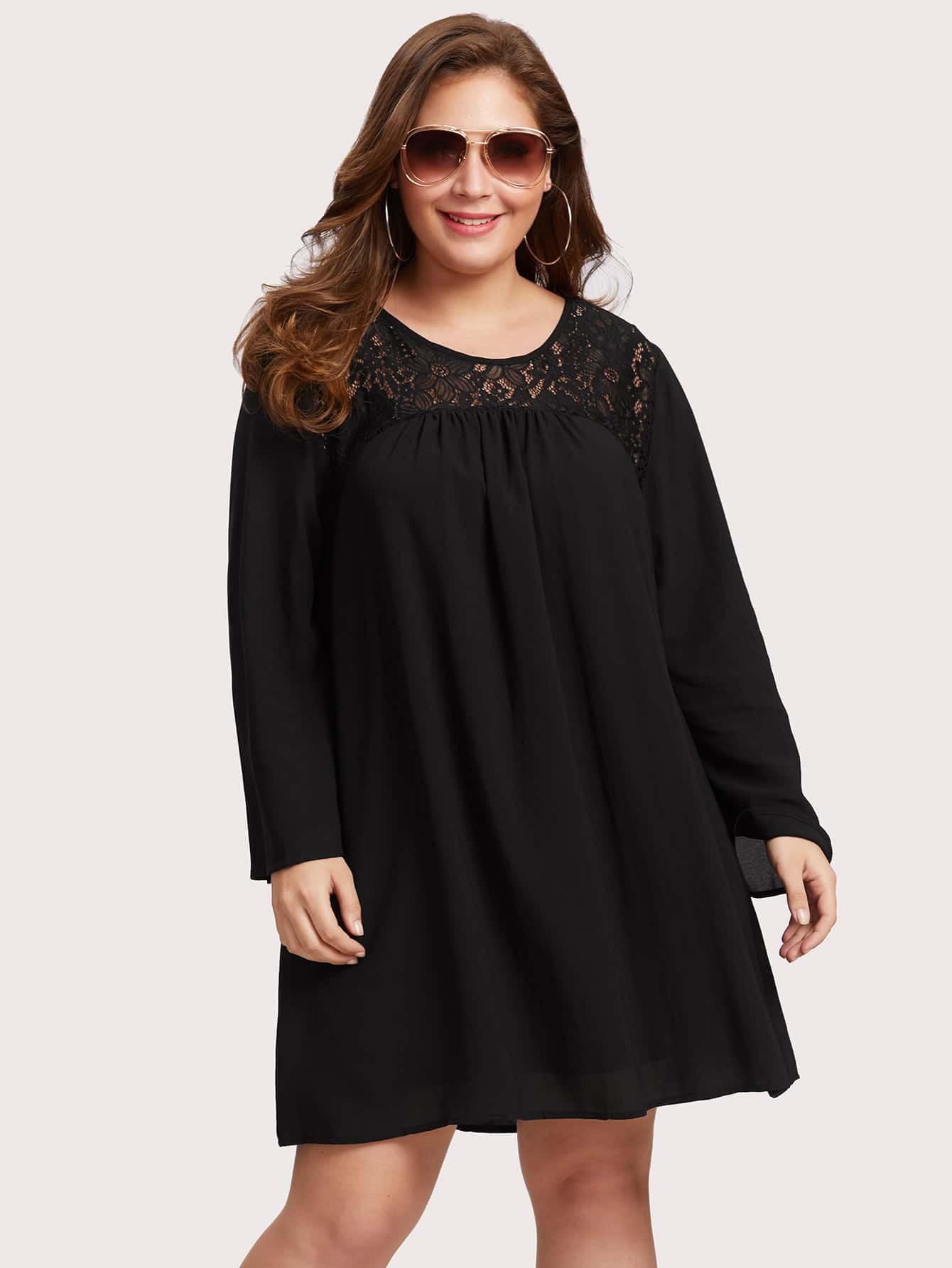 Lace Panel Oversized Dress mesh panel layered oversized sleeve dress