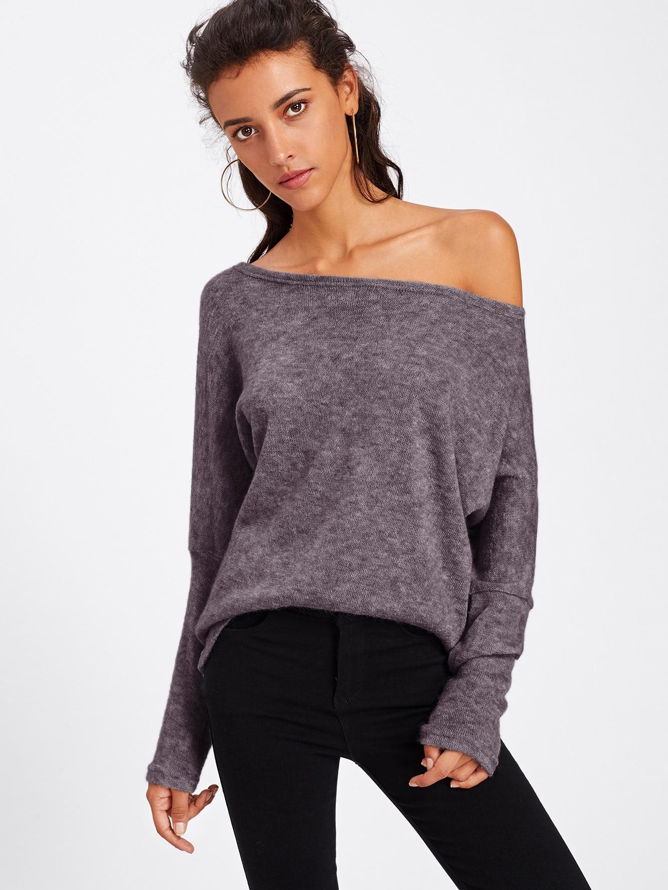 Pullover mit asymmetrischer Schulter und Fledermausärmeln