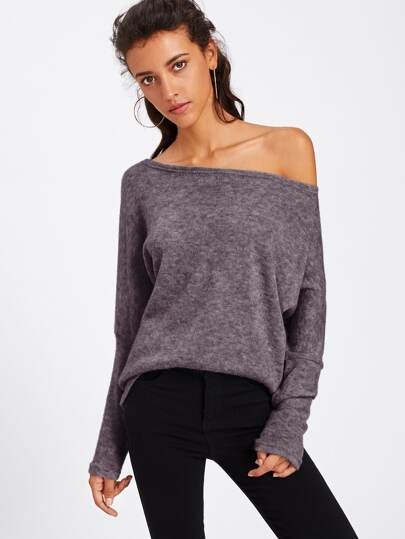 Asymmetric Shoulder Batwing Sleeve Sweater