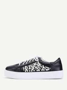 Rhinestone & Faux Pearl Lace Up Sneaker