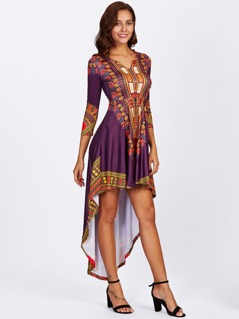 Tribal Print Dip Hem Dress