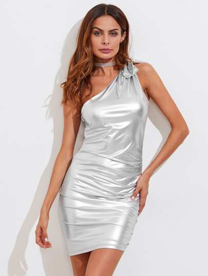 Bow Tie One Shoulder Metallic Dress