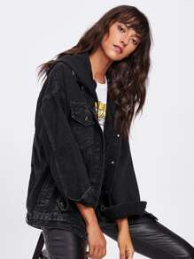 Bleach Wash Drop Shoulder Hooded Denim Jacket
