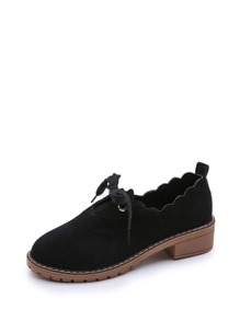 Scallop Edge Suede Oxford Shoes
