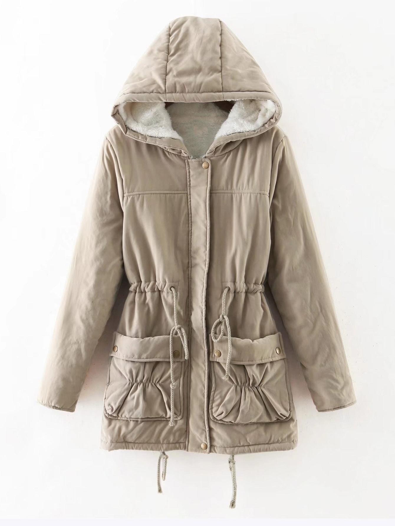 Faux Fur Lined Utility Parka Coat -SheIn(Sheinside)
